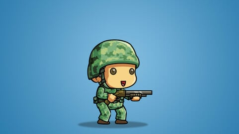 Tiny U.S Soldier 2D Character Sprite