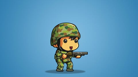 Tiny Australian Soldier 2D Character Sprite