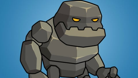 Tiny Rock Monster 2D Character Sprite