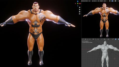 Stylized Character Man - Blender Cycles And Eevee - Hecxa - 3D Model