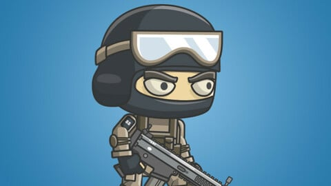Mike The Counter Terrorist 2D Character Sprite
