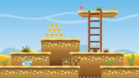Free Side Scroller Desert Game Tileset