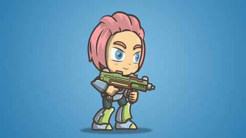 Joana From The Metro Squad 2D Character Sprite