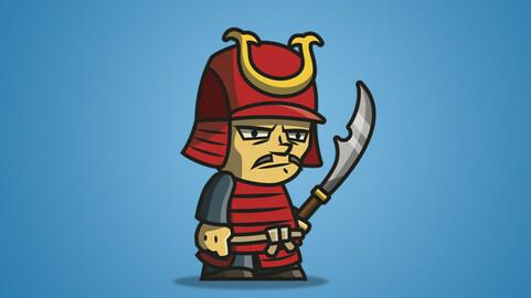 Tiny Armored Samurai 2D Character Sprite