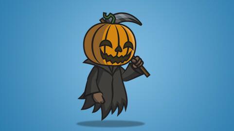 Pumpkin Ghost 2D Character Sprite