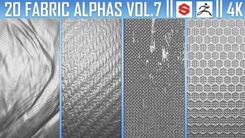 20 Fabric Alphas Vol.7 (ZBrush, Substance, 4K)