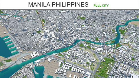 Manila city Philippines 3d model 30km