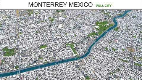 Monterrey city Mexico 3d model 60km