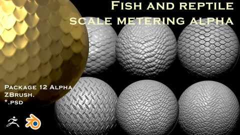 Package 12 Alpha for ZBrush. Blender and other programs, imitation of fish scales and reptiles.