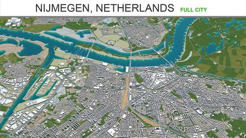 Nijmegen city  Netherlands 3d model 40km