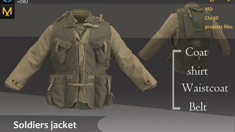 Jacket for Battlefield_Military/Tactical Jacket &Coat Outfit_Clo3d, Marvelous designer(fbx,obj,texture if needed)