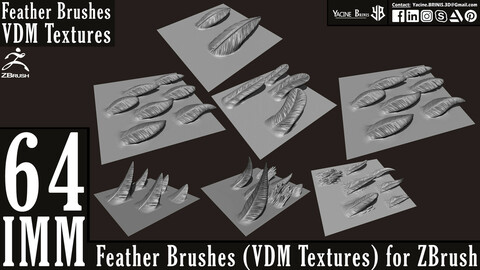 64 IMM Feather Brushes (VDM Textures) for ZBrush