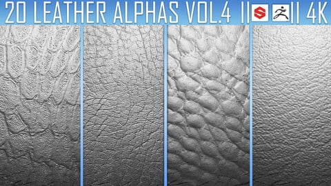 20 Leather Alphas Vol.4 (ZBrush, Substance, 4K)