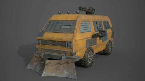 Post Apocalyptic Monster VW Bus Low-poly 3D model