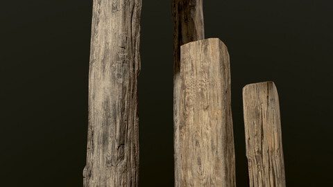 Wooden Planks and Beams (13 pieces)