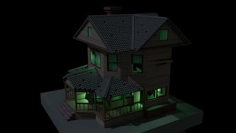 Low poly haunted house