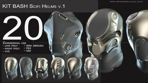 IMM 20 Scifi Helmets KitBash with Uvs - Plus LP+HP)