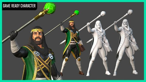 Stylized Character - Game-ready Model - Wizard