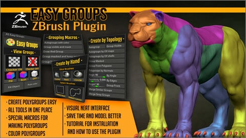 Easy Groups ZBrush Plugin