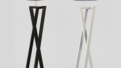 Floor Lamp Black And White Wood