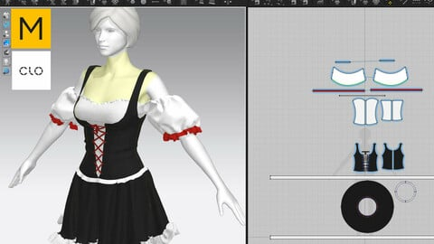 Maid Female outfit Clo3D and MD