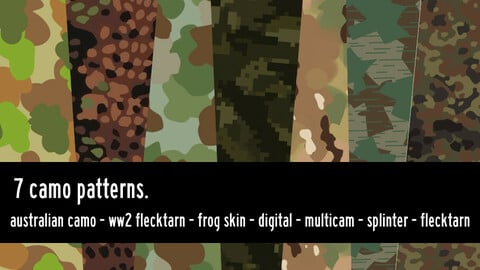 7 camouflage patterns, high resolution camo.