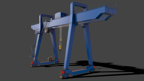 PBR Double Girder Gantry Crane V1 - Blue