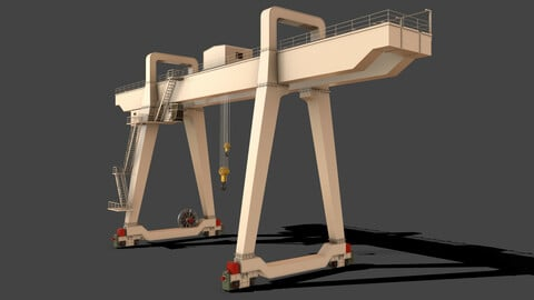 PBR Double Girder Gantry Crane V1 - White
