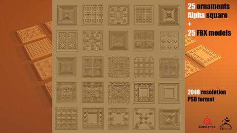25 ornaments Alfa square + 25 FBX models
