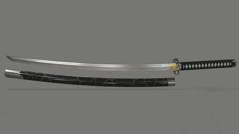 PBR Katana Japanese Sword Black
