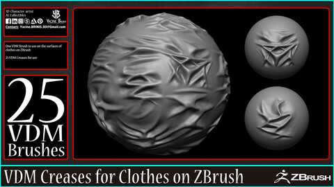 25 VDM Creases for Clothes on ZBrush
