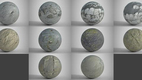 10 Various Concrete Floors Surfaces PBR Volume 5