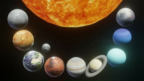 Photorealistic Solar System Moon Included 2k Textures 3D Model