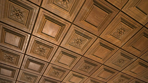 Wooden panelled ceiling - Basematerial and SD graph