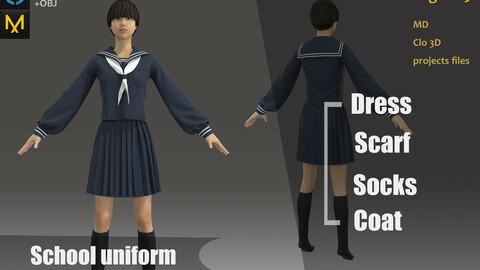 Zbrush Practice_Female/Girls School Uniform_Clothes_Short Dress_Asian&Japan Style_MD files
