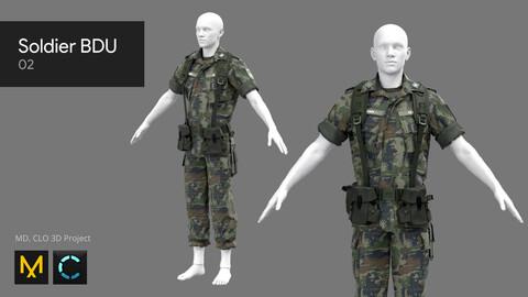Soldier BDU 02 - Marvelous Designer, CLO 3D