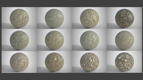 Set of 12 Various Dry Cracked Soil Textures PBR Volume 1