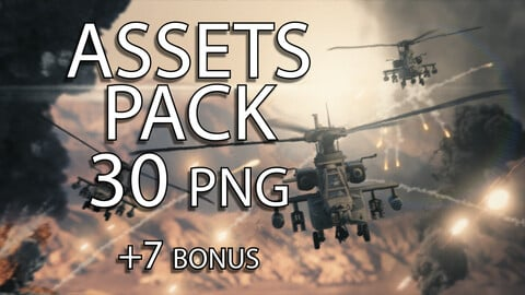 PNG Resources Pack - Ah-64 Apache Attack Helicopter - 30 Poses + 6 Flight Formations - Including Rotor Blur and Pilots onboard