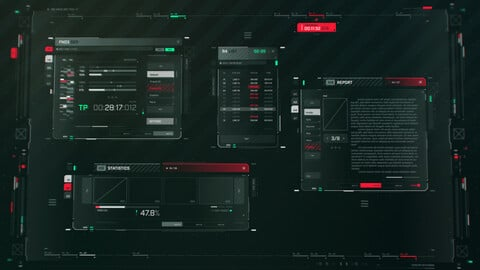 FUI / UI - Screen graphics assets set