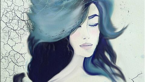 Blue fog hair girl