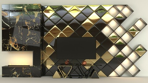 Golden Cube tv set wall