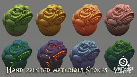 8 Hand painted materials Stones