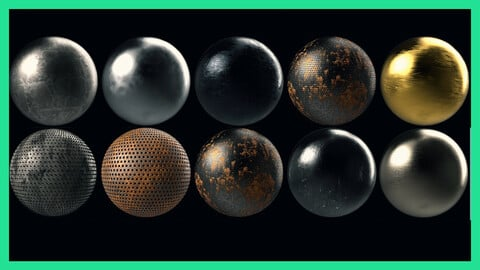 10 Metal Metallic Steel Seamless PBR Texture Pack Material Bundle