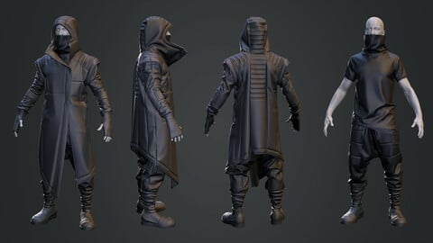 CYBERPUNK STYLE OUTFIT: Asymmetric Overcoat + Tshirt + Trousers . Marvelous Designer and Zbrush files