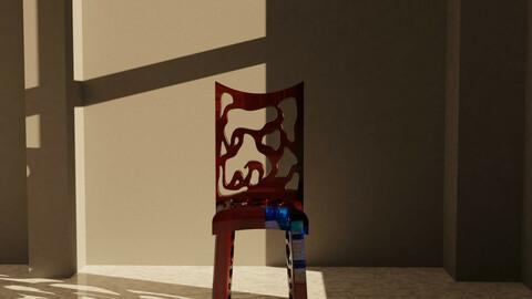 Resin Wood Chair 3d Render