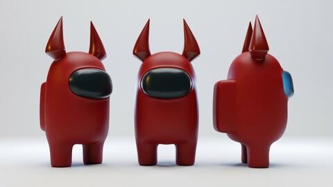 Among Us Devil Horns Character