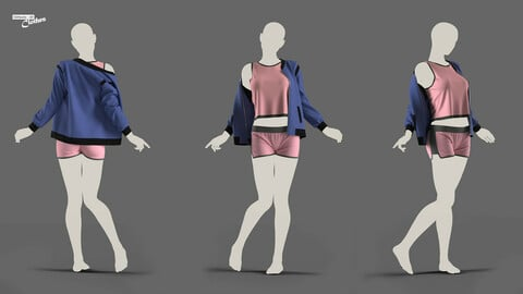 Female Short and Sweater - 57 Marvelous Designer and Clo3D