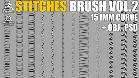 15 IMM Stitches Brush Vol.2 for Zbrush and Substance (+ PSD, OBJ)