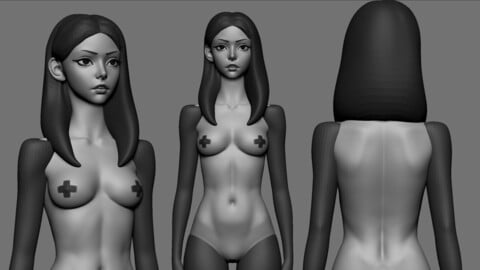 Stylized Girl sketch Ztool for Zbrush 2021