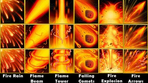 Fantasy Game Basic Magic Skill Icons - Fire Magic